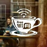 Wall4Stickers Free WIFI Cup Ventana de la ventana Vinilo Vinilos Gráficos Cafe Shop Salon Bar Restaurante