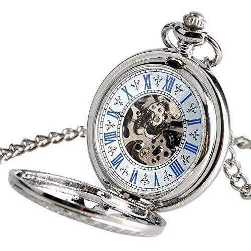 FGDSA Montre de Poche Horloge d'allaitement Automatique mécanique Steampunk Collier élégant Creux Soleil Montre de Poche à remontage Automatique Femmes Hommes Cadeau de noël