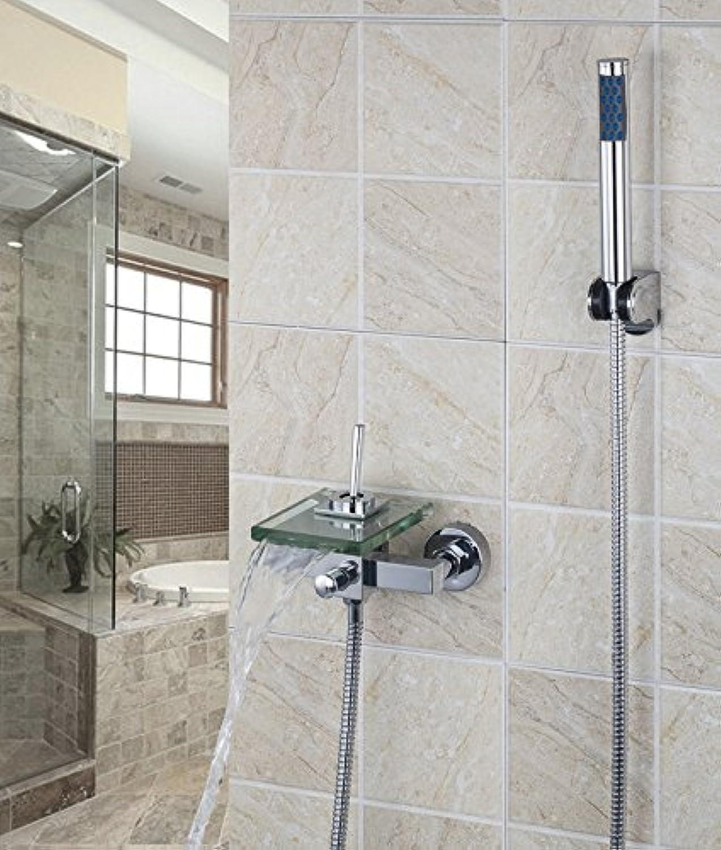 Galvanik Retro Wasserhahn Messing Wasserfall Wandmontage Glas Badewanne Waschbecken Toilette Hahn 8202 Y-2 Bad Chrom Waschbecken Wasserhahn, Mischer und Hhne, Blau