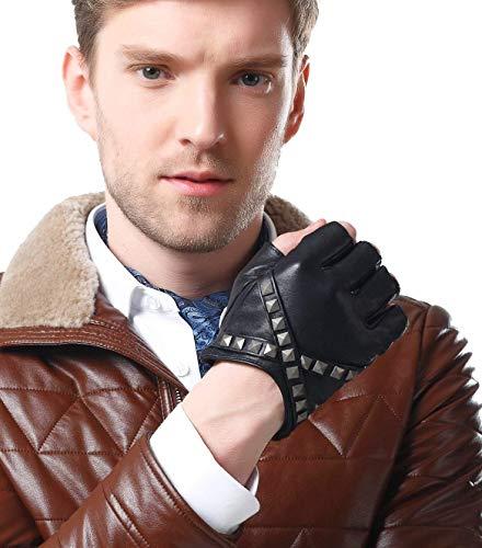 Gants Pour Hommes Conduite Doigts Sans Gants Spécial Style De Moto Gants D'Extérieur Mode Pour Hommes Gants D'Équitation (Color : Noir, Size : XL)