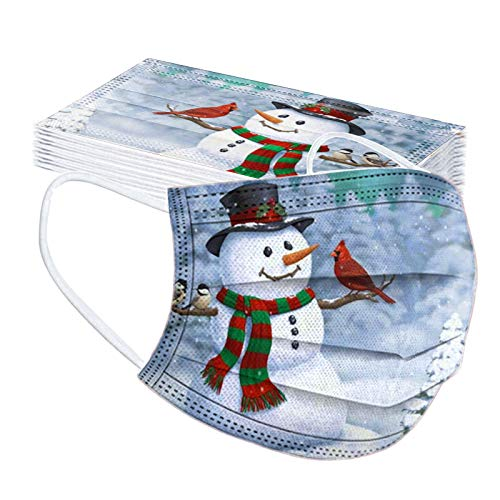 Renzhe 20pcs Christmas Adults Disposable Face_Mask, 3-Ply Cute Cartoon Snowman Santa Claus Pattern Printed Breathable_Dustproof, with Elastic Earloop