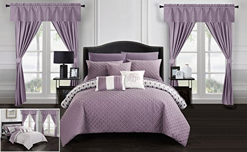 Chic Home Sigal 20 Piece Comforter Set Reversible Geometric Quilted Design Complete Bed in a Bag Bedding – Sheets Decorative Pillows Shams Window Treatments Curtains Included King Lavender