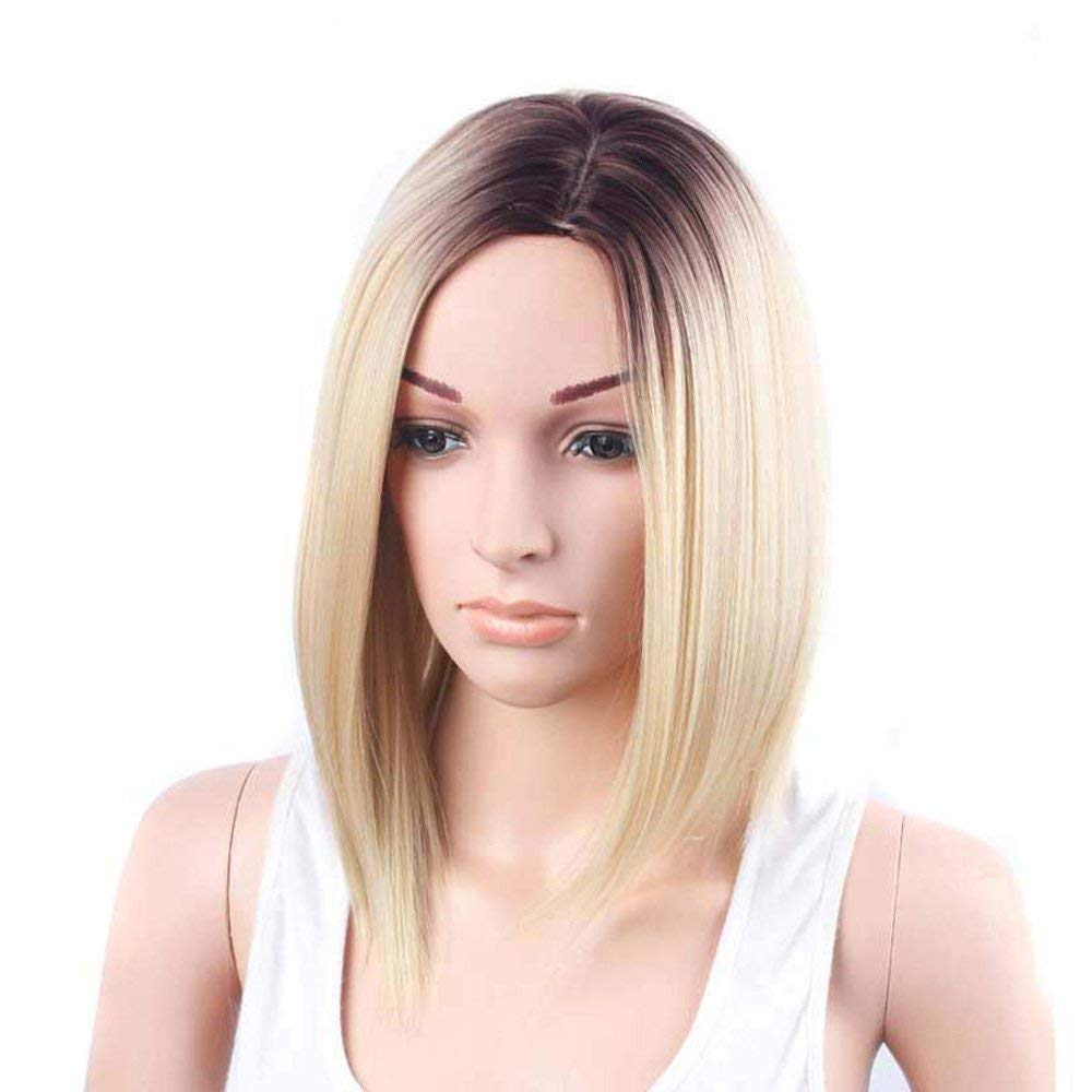 TSNOMORE Bob Blonde Wig for Women, Shoulder-length Straight Wig,