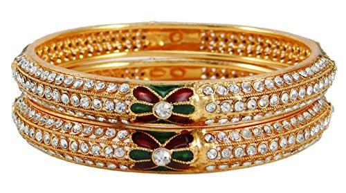 Banithani Goldtone Indische Frauen Kada Armreif Set Ethnische Traditionelle Armbänder Schmuck 2 * 8