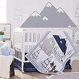 Lorient Home 3 Piece Crib Baby Bedding Set - Blue Forest Animals (014-03-BP)