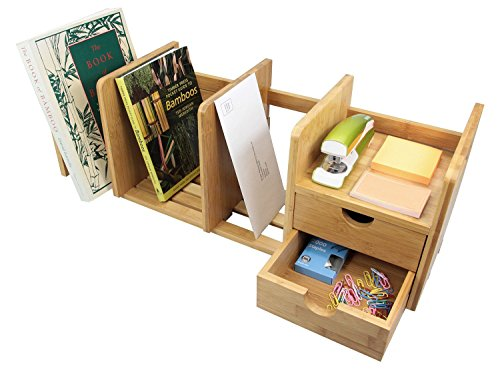 Natural Bamboo Desk Organizer with Extendable Storage and Two Drawers for Office and Home, Expandable Desk Tidy Bamboo Bookshelf