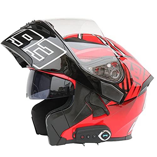 Casco de Motocicleta Integrado con Bluetooth, Cascos Abatibles al Frente, Doble Visera, Casco con Bluetooth para Motocicleta, Casco Completo, Ventilación Aprobada Por Dot/Ece, 57-64 Cm,#3,XL