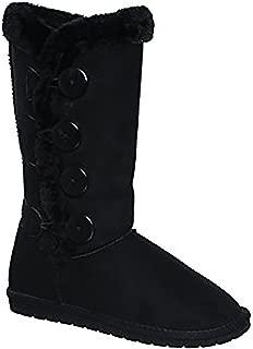 Forever Link Plain Color Four Button Fur Lined Mid-Calf Snow Boots MVE Shoes