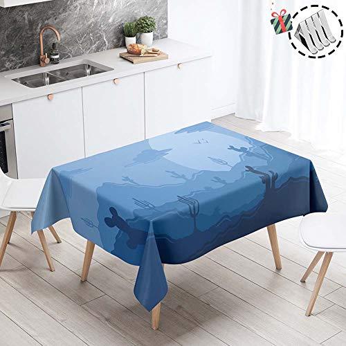 Stillshine Manteles para Mesas de Salon o Cocina, Cuadrada/Rectangular Impermeable Antimanchas 3D Estampado Mantel para Fiesta Balcón Jardín Casa Interiores (Noche azul,140x160cm)
