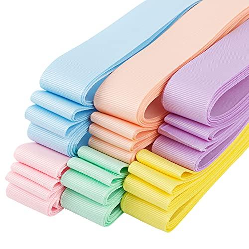 BETESSIN 30m Cintas Grosgrain de 6 Colores Cintas Decorativas Cintas Ribbon Tela 25mm para Costura Manualidad Regalos Cumpleaños Boda Fiesta Embalaje Regalos