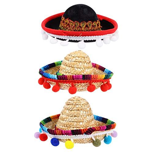 STOBOK 3 Piezas Mini Sombrero Mexicano Sombrero De Paja Natural Cinco De Mayo Sombreros De Fiesta Disfraz De Fiesta para Eventos Luau Accesorios De Fotos Decoraciones De Fiesta Temtica