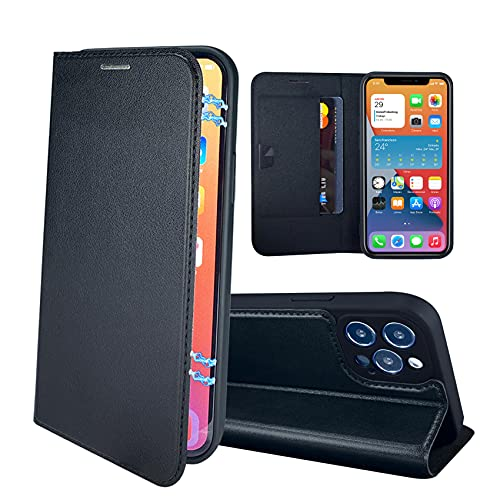 RedyRun Funda Poliuretano Hybrid Compatible con iPhone 12 Pro 6.1 Pulgadas (Fundas Plegable Cartera Cuero PU) (Funda de Bumper Silicona TPU) (Flip Folio Case) - Negro