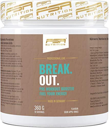 Pre Workout Booster mit Arginin AAKG, L-Citrullin, Beta Alanin und Koffein, Made in Germany - FSA Nutrition - 360 g - Saure Apfel-Ringe