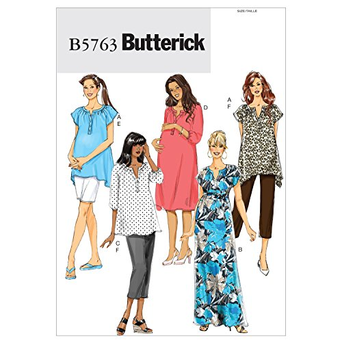 Butterick Patterns 5763 Women's Maternity Top, Dress, Belt, Shorts and Pants, Sizes 18W-20W-22W-24W