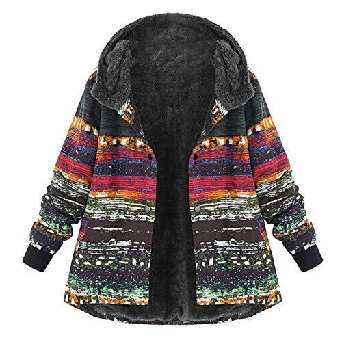 VEMOW Winter Herbst Heißer Frauen Damen Plus Größe Kapuzenjacke Langarm Vintage Casual Täglichen Freizeit Fleece Dicker Reißverschluss Mantel(Y1-Mehrfarbig, 50 DE / 3XL CN)