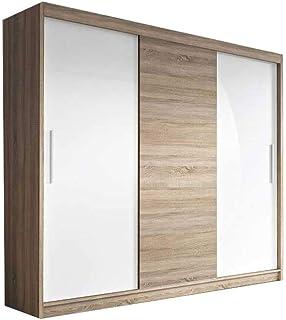 E-MEUBLES Armoire de Chambre avec 2 Portes coulissantes | Penderie (tringles) avec étagères (LxHxP): 250x218x61 Elba 2 BIS...