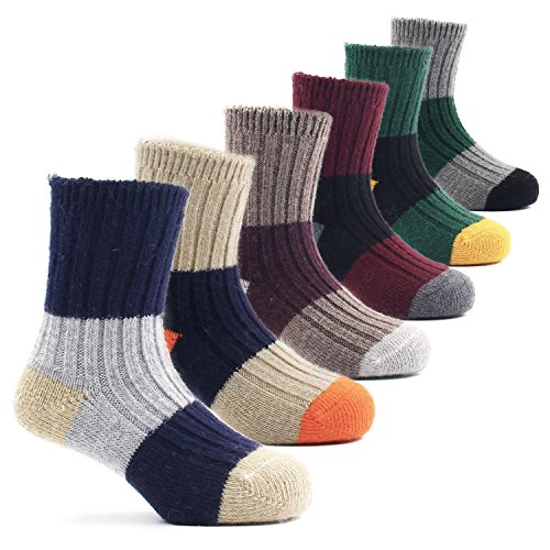 Boys Thick Wool Socks Kids Winter Seamless Socks 6 Pack 13-15 Years