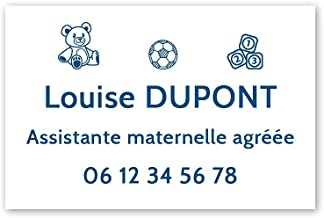 Personaliseerbaar bord voor de kleuterschool, personaliseerbaar, 30 x 20 cm, witte blauwe letters, 3M-plakband