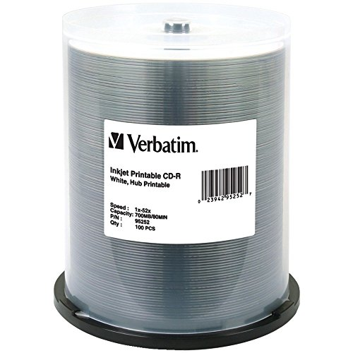 Verbatim CD-R 80MIN 700MB 52X White Inkjet Printable, Hub Printable 100pk Spindle CD-R 700MB 100pieza(s) - CD-RW vírgenes (Hub Printable 100pk Spindle, CD-R, 700 MB, 100 pieza(s), 120 mm, 80 min, 52x)