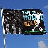 ALLdelete# Flags Drapeaux d'extérieur Worn-Out USA Flag Rugby C'est Ainsi Que Je Roule 3X5 Ft Flag pour Outdoor Indoor Home Decor Sports Fan Football Basketball Baseball