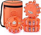 [4 Pack] LED Road Flares Safety Flashing Warning Light Roadside Emergency Disc Beacon Kit for Vehicles Boats with Magnetic Base & Hook, Premium Storage Bag (Batteries Not Included) (4)