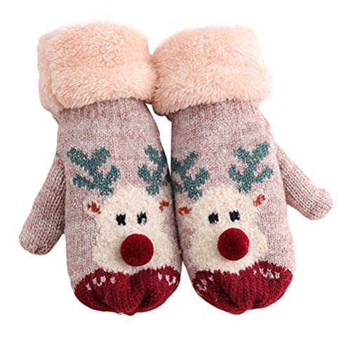LUOZZY Christmas Knitted Gloves Hanging Neck Mitten Warm Gloves Kids Gloves (Biege)