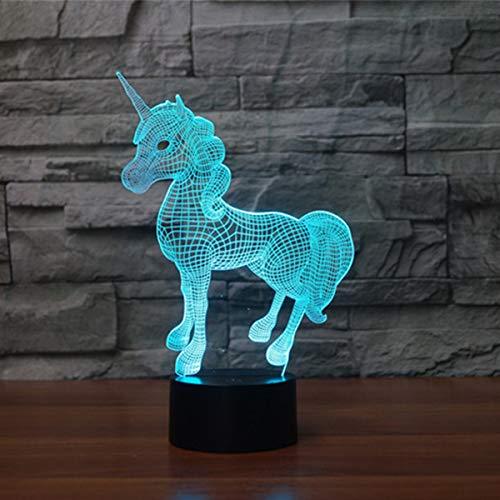 3D Illusion Lampe LED Nachtlicht Lampen, KidsPark Optische Einhorn Nachtlichter Tischlampe Kinder...