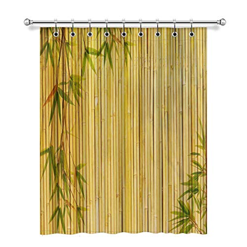 Nmfdz Summer Light Golden Bamboo with Bamboo Leaves and Branches Blackout Window Curtain Panels, Thermal Insulated Draperies Window Curtain W52 x L63,1 Piece#06-Fashion