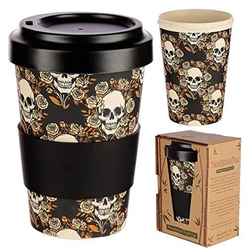 Puckator - Taza de café de madera de bambú con tapa desenroscable, 400 ml, vaso de viaje reutilizable, sin BPA, calavera.