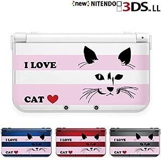 new Nintendo 3DS LL カバー ケース クリア ハード ネコ ストライプ ピンク I LOVE CAT 透明