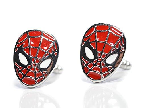 Gemelli in tema supereroi, con maschera di Spiderman, colore nero., smalto, Rosso