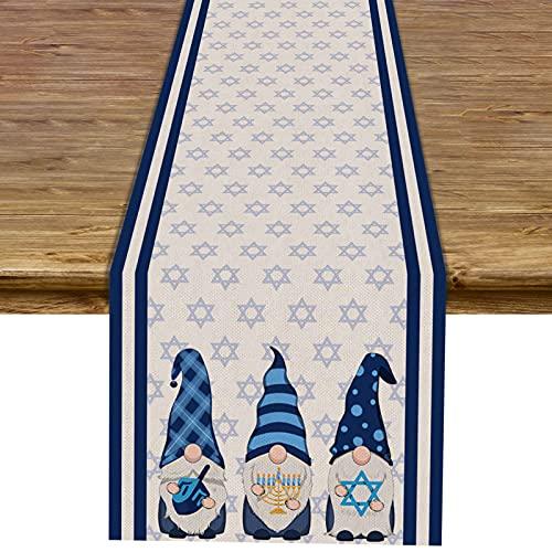 Pudodo Hanukkah Gnome Table Runner Chanukah Menorah Star of David Table Decor Jewish Holiday Party Kitchen Dinning Home Decorations