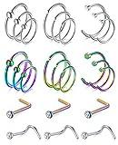 Funseedrr 24pcs Piercing Nariz Pernos Aros Acero Quirúrgico 20G 6/8/10mm Nariz Pin Septum Anillo L Forma Tornillo Set CZ Nariz Piercing Joyas