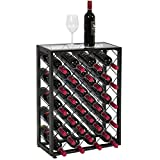 Best Choice Products 32-Bottle Wine Rack Liquor Storage Cabinet w/Glass Table Top, Black