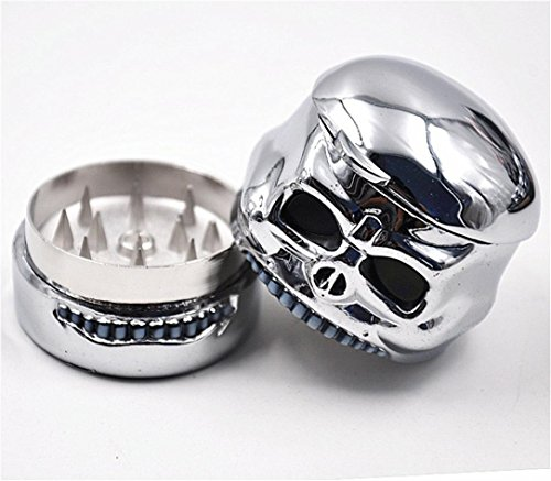 Jujunx Skeleton Tobacco Herb Spice Grinder Herbal Smoke Chromium Crusher (Silver)