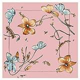 TYJYTM Bufanda Cuadrada de Seda Pura para Mujer Foulard Desigual de Lujo Pañuelos para Mujer Bufanda para Mujer con Estampado de Flores Grandes
