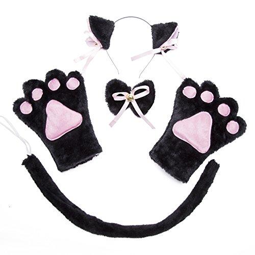 ECOMBOS Katzen Kostüm Zubehör - Katzenohren, Fliege, cosplay für katzen Tierkostüm Adorable Party Kostüm Zubehör Cosplay Halloween Mädchen Damen Mädchen und Kinde (Katze-Schwarz)