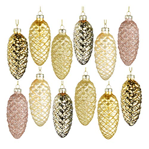 Set of 12 Gold Pine Cone Ornaments Hanging Pinecone Baubles Hanging Christmas Ornaments Blown Ornaments Glass Painted Pendants Christmas Halloween Decor Accessories Party Centerpieces