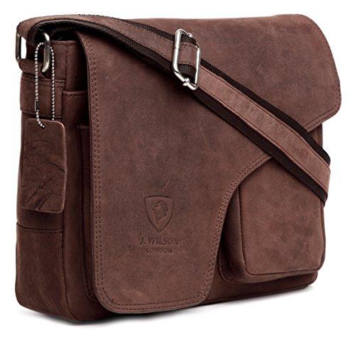 J WILSON London Designer Genuine Real Vintage Hunter Leather Handmade Mens Leather Flapover Everyday Cross Body Shoulder Work iPad Messenger Bag (Distressed Brown)