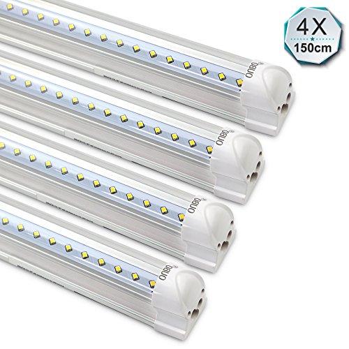 [4er Pack zum Sparpreis] OUBO LED Leuchtstoffröhre mit Fassung komplett 150CM LED Tube T8 Röhre Leuchtstofflampe, 24 Watt, 2850 Lumen, Kaltweiss 6000K, Transparente Abdeckung