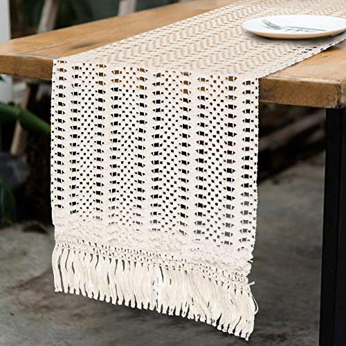 AerWo Macrame Table Runner Boho Woven Cotton Crochet Lace Farmhouse Moroccan Wedding Table Runner with Tassels for Bohemian, Dinner Rustic Table Top Bridal Shower, Wedding Table Decorations,108 Inches