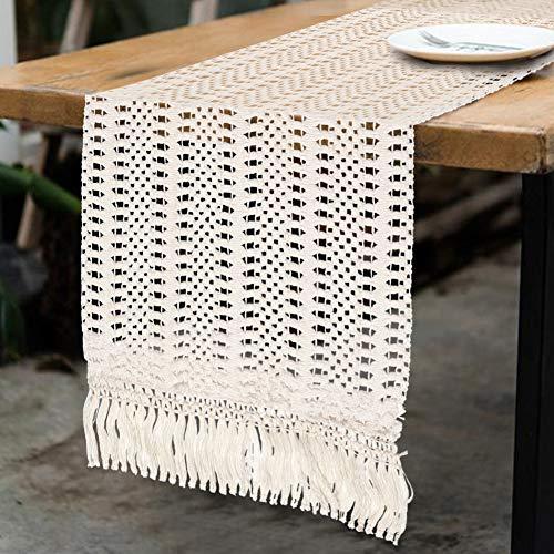 AerWo Camino de mesa de macramé de 172 cm, diseño bohemio, tejido...