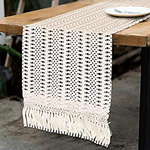 OurWarm Natural Macrame Table Runner Cotton Croche...