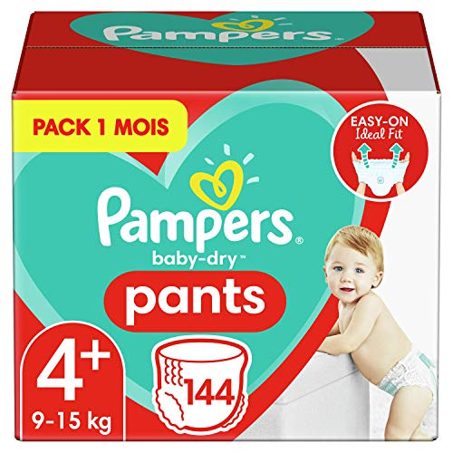 Pampers Couches-Culottes Baby-Dry Pants Taille 4+ (9-15kg) Maintien 360° pour Éviter les Fuites, Faciles à Changer, 144 Couches-Culottes (Pack 1 Mois)