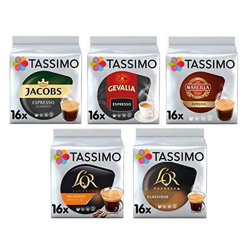Tassimo Kaffee Espresso Selektion - Jacobs Espresso Classico / Gevalia Espresso / Marcilla Espresso / L'OR Espresso Delicious 16 / L'OR Espresso Classic Kaffeekapseln - 5 Packungen (80 Getränke)