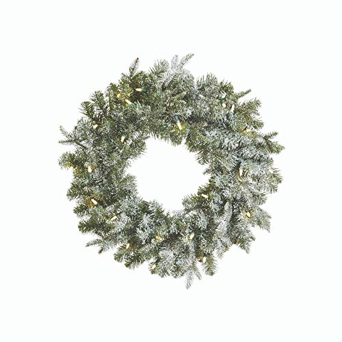 NOMA Pre-lit 24-Inch LED Frosted Fir Christmas Wreath with Battery Operated Lights | 25 Warm White Bulbs | 230 Fir Tips