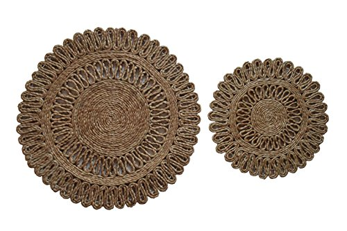 Toockies Hand Made Organic Jute Trivets/Hot Pads in Unique Sun Pattern- Set of 2