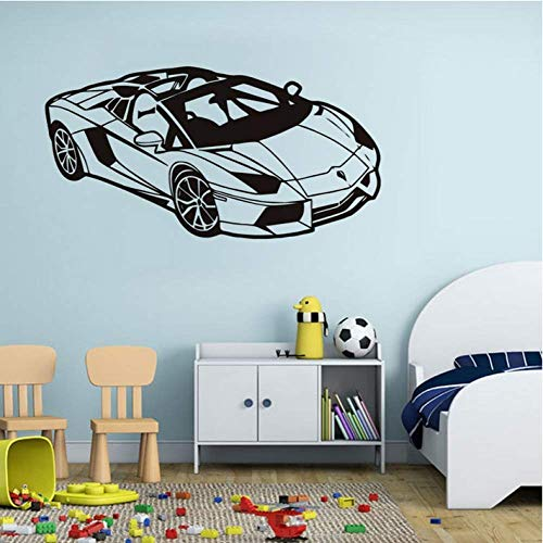 Wall Sticker Home Decoration 82Cm*42Cm Fashion Sport Racing Car Wall Sticker Cool Kids Room Wall Decals Vinyl Car Poster Home Bedroom Decor Car Race Club Wall Mural