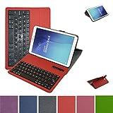 Samsung Galaxy Tab E 9.6 Bluetooth teclado Funda,Mama Mouth DETACHABLE Bluetooth teclado teclado (teclado QWERTY formato inglés) PU Cuero Con Soporte Funda Caso Case para 9.6' Samsung Galaxy Tab E 9.6 T560 T561 Android Tablet,Rojo