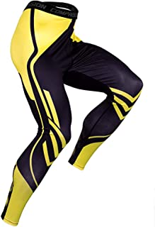Compression Pants for Men,Workout Pants Elasticity Quick Drying Sports Tights Leggings Training Pants for Basketball Football Cycling Jogging,Yellow,XL